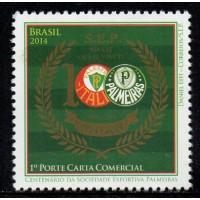 C-3376 - 100 Anos da Sociedade Esportiva Palmeiras - 1° Porte Carta Comercial - 2014