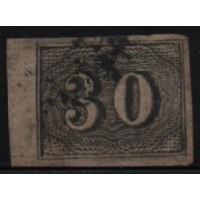 02/009 - Império - Olho de Cabra - 30 Réis - N° 13 - Catálogo Marca 8 UF'S