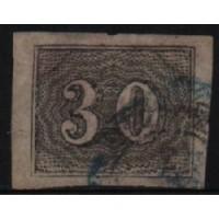 02/014 - Império - Olho de Cabra - 30 Réis - N° 13 - Catálogo Marca 8 UF'S