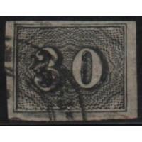 02/020 - Império - Olho de Cabra - 30 Réis - N° 13 - Catálogo Marca 8 UF'S