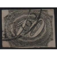 03/001 - Império (1844/6) - Inclinado - 10 Réis - N° 04 - Catálogo Marca 60 UF'S