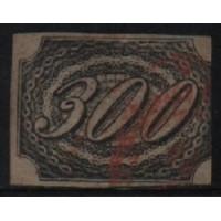 06/001 - Império (1844) - Inclinado - 300 Réis - Catálogo Marca 4800 UF'S