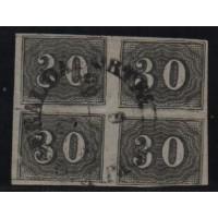 13/001 - Império (1850) - Olho de Cabra - Quadra - 30 Réis - Catálogo Marca 200 UF'S